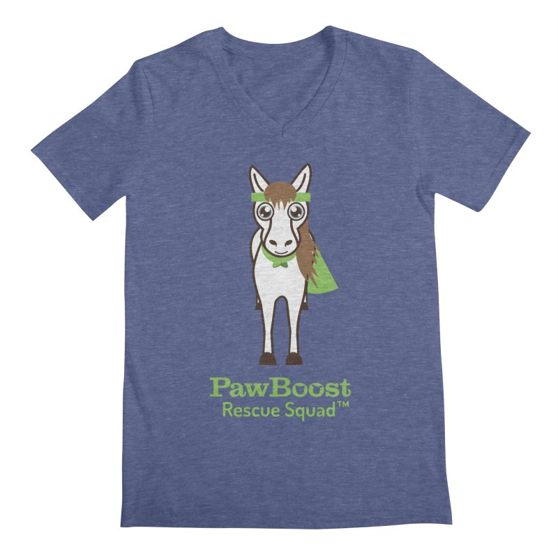 Harry (horse) in Men's Regular V-Neck Heather Blue by PawBoost's Shop
