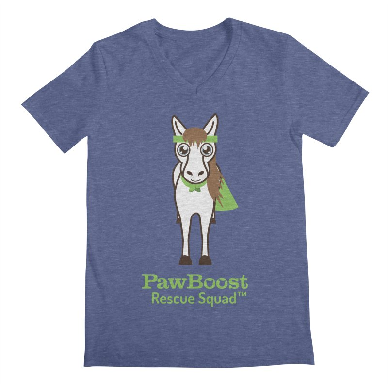 Harry (horse) in Men's V-Neck Heather Blue by PawBoost's Shop