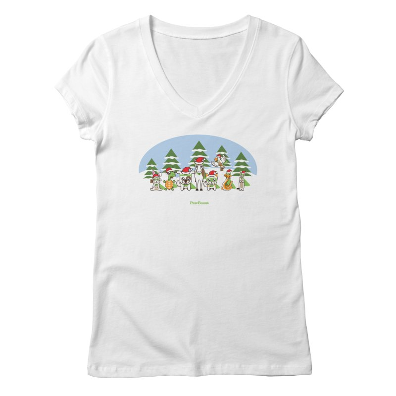 Rescue Squad (winter wonderland) Women's V-Neck by PawBoost's Shop