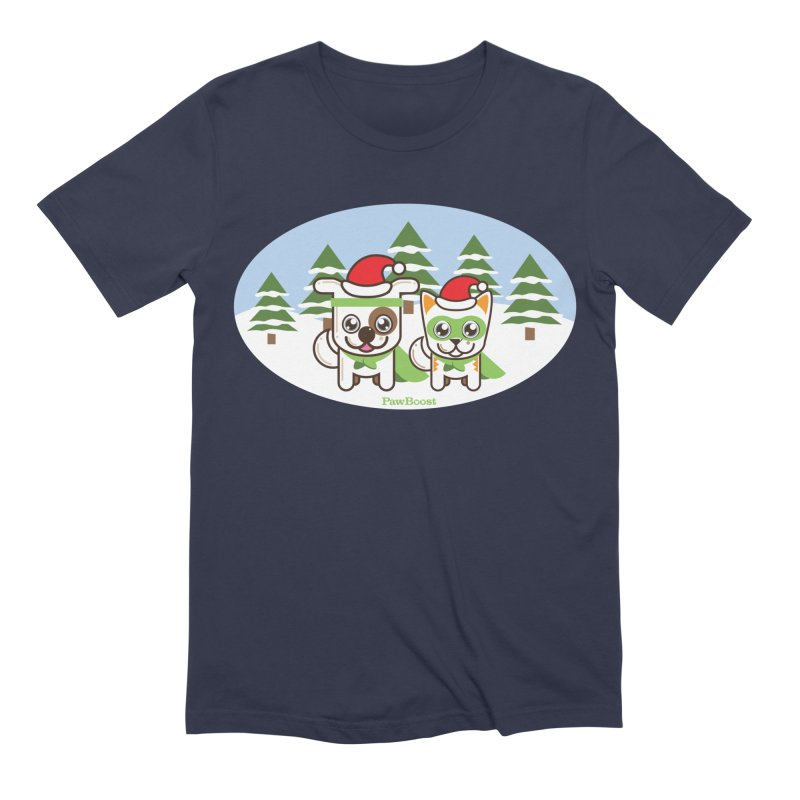 Toby & Moby (winter wonderland) Men's Extra Soft T-Shirt by PawBoost's Shop