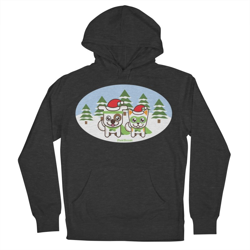 Toby & Moby (winter wonderland) Men's French Terry Pullover Hoody by PawBoost's Shop