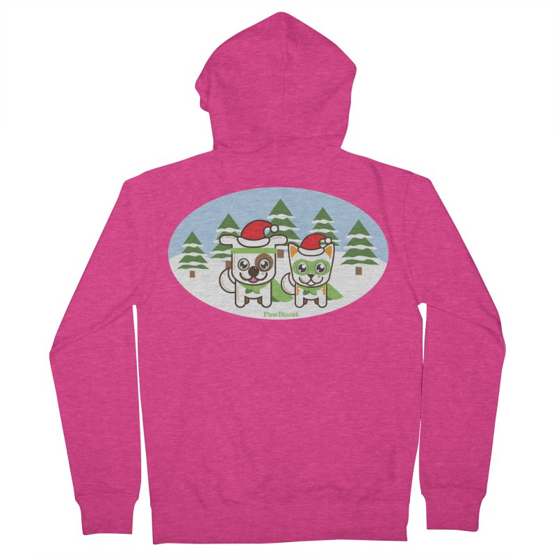Toby & Moby (winter wonderland) Women's French Terry Zip-Up Hoody by PawBoost's Shop