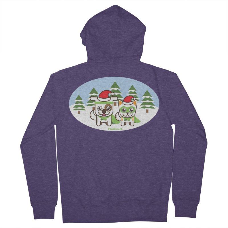 Toby & Moby (winter wonderland) Men's Zip-Up Hoody by PawBoost's Shop