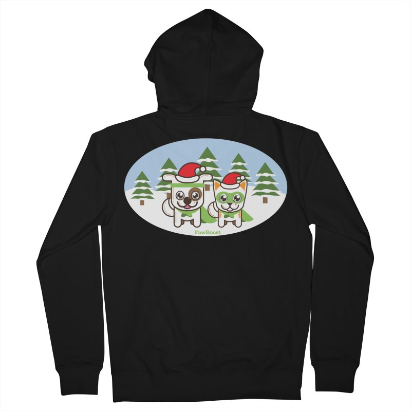 Toby & Moby (winter wonderland) Men's French Terry Zip-Up Hoody by PawBoost's Shop