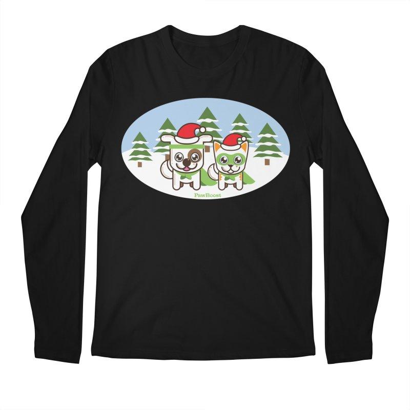 Toby & Moby (winter wonderland) Men's Longsleeve T-Shirt by PawBoost's Shop