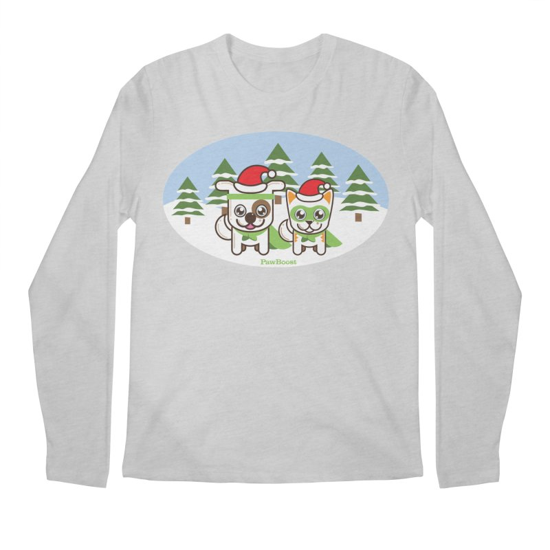 Toby & Moby (winter wonderland) Men's Regular Longsleeve T-Shirt by PawBoost's Shop