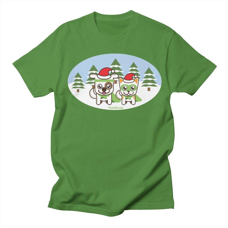 Toby & Moby (winter wonderland) Men's Regular T-Shirt by PawBoost's Shop