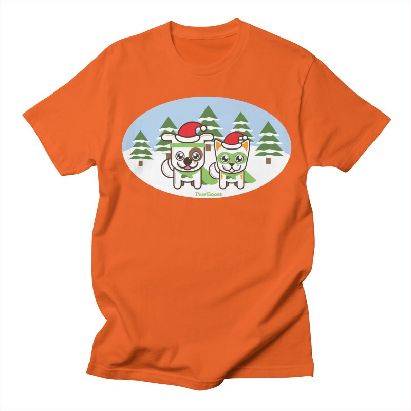 Toby & Moby (winter wonderland) Men's Regular T-Shirt by PawBoost's Shop