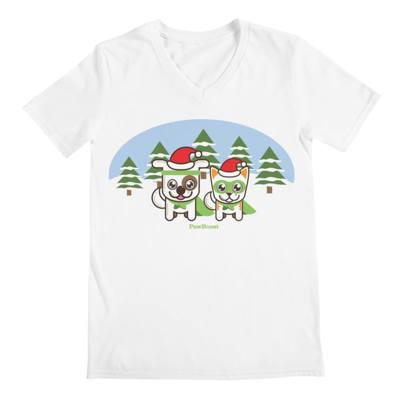 Toby & Moby (winter wonderland) Men's V-Neck by PawBoost's Shop
