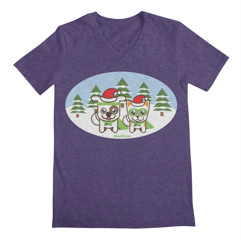 Toby & Moby (winter wonderland) Men's Regular V-Neck by PawBoost's Shop