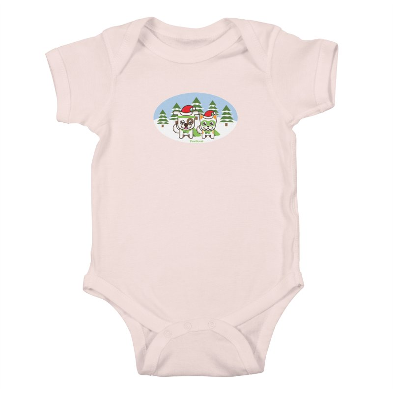Toby & Moby (winter wonderland) Kids Baby Bodysuit by PawBoost's Shop