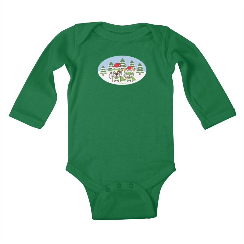 Toby & Moby (winter wonderland) Kids Baby Longsleeve Bodysuit by PawBoost's Shop