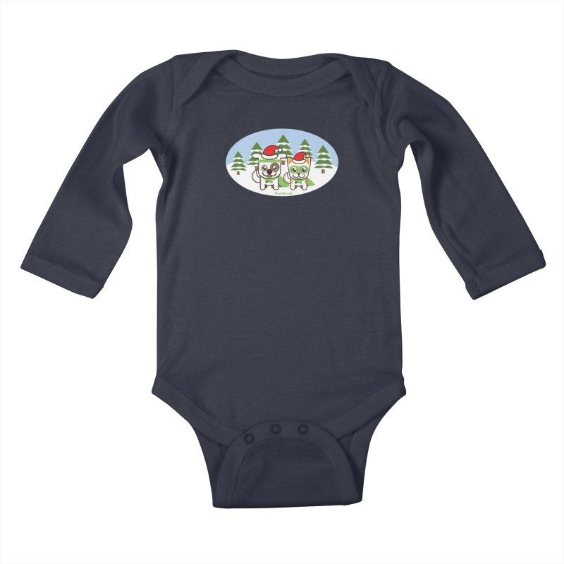Toby & Moby (winter wonderland) Kids Baby Longsleeve Bodysuit by PawBoost's Shop