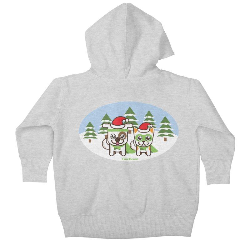 Toby & Moby (winter wonderland) Kids Baby Zip-Up Hoody by PawBoost's Shop