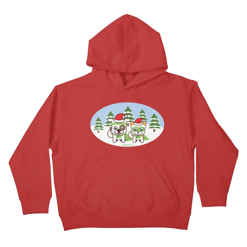 Toby & Moby (winter wonderland) Kids Pullover Hoody by PawBoost's Shop