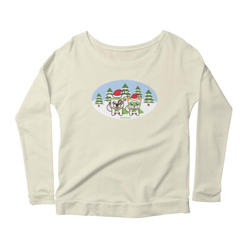 Toby & Moby (winter wonderland) Women's Scoop Neck Longsleeve T-Shirt by PawBoost's Shop