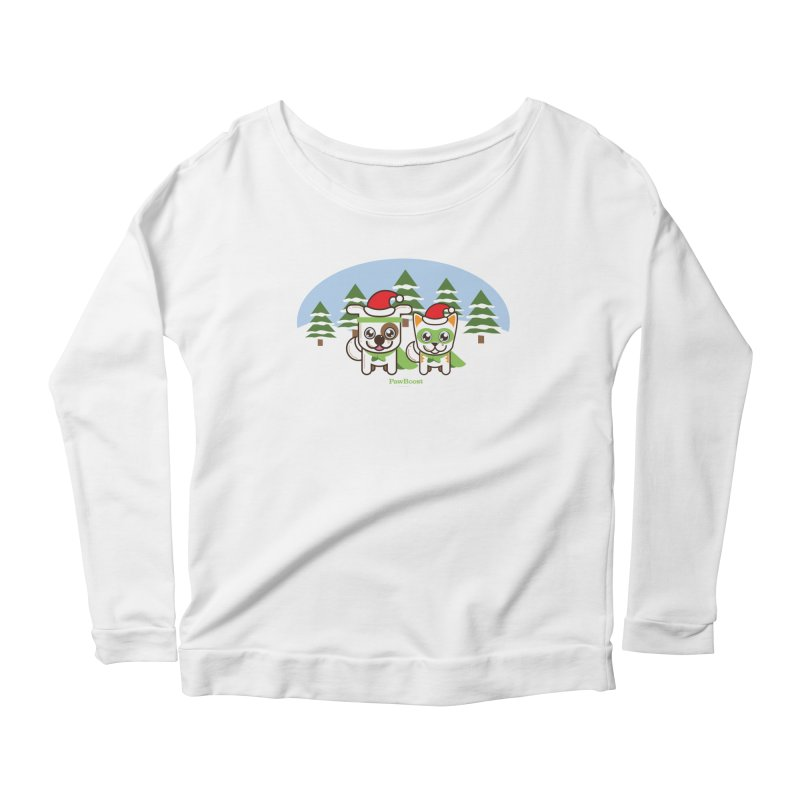 Toby & Moby (winter wonderland) Women's Longsleeve Scoopneck  by PawBoost's Shop