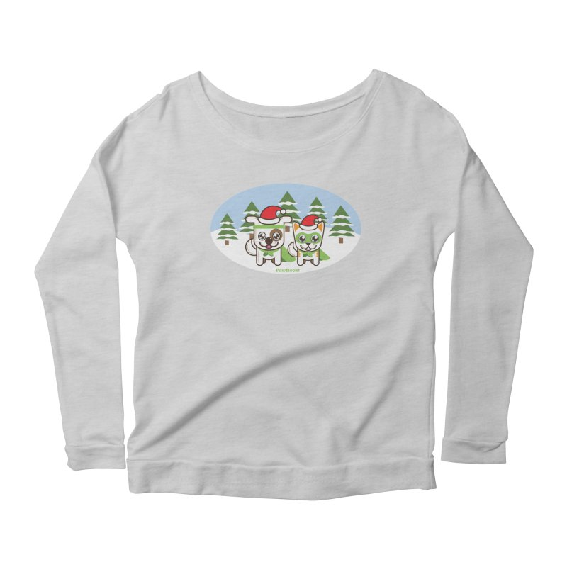 Toby & Moby (winter wonderland) Women's Scoop Neck Longsleeve T-Shirt by PawBoost's Shop