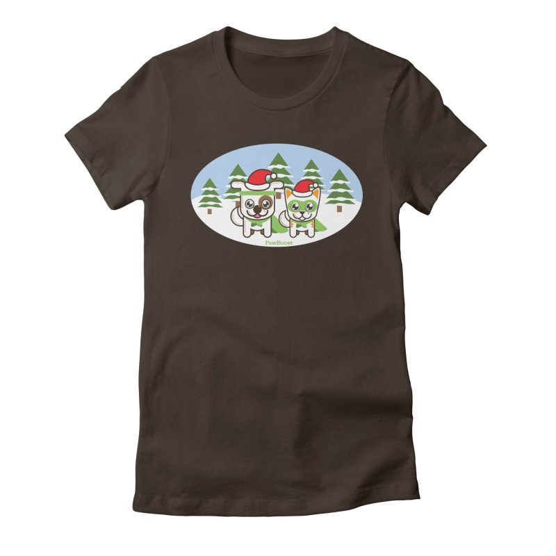Toby & Moby (winter wonderland) Women's Fitted T-Shirt by PawBoost's Shop