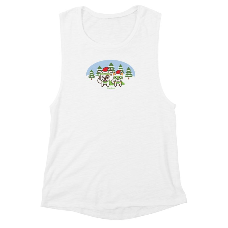 Toby & Moby (winter wonderland) Women's Muscle Tank by PawBoost's Shop