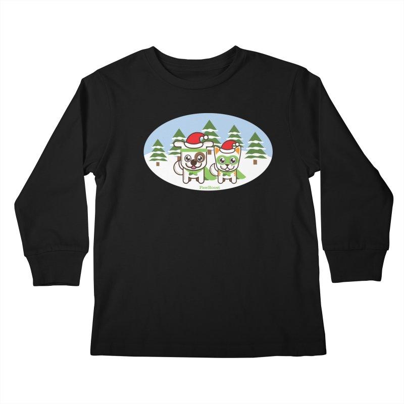 Toby & Moby (winter wonderland) Kids Longsleeve T-Shirt by PawBoost's Shop
