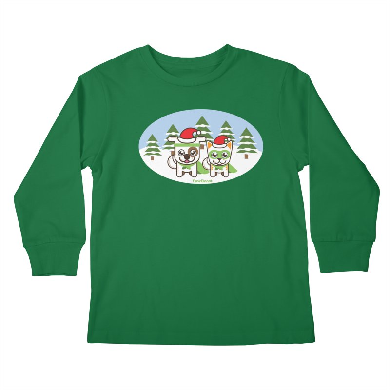 Toby & Moby (winter wonderland) Kids Longsleeve T-Shirt by PawBoost's Shop
