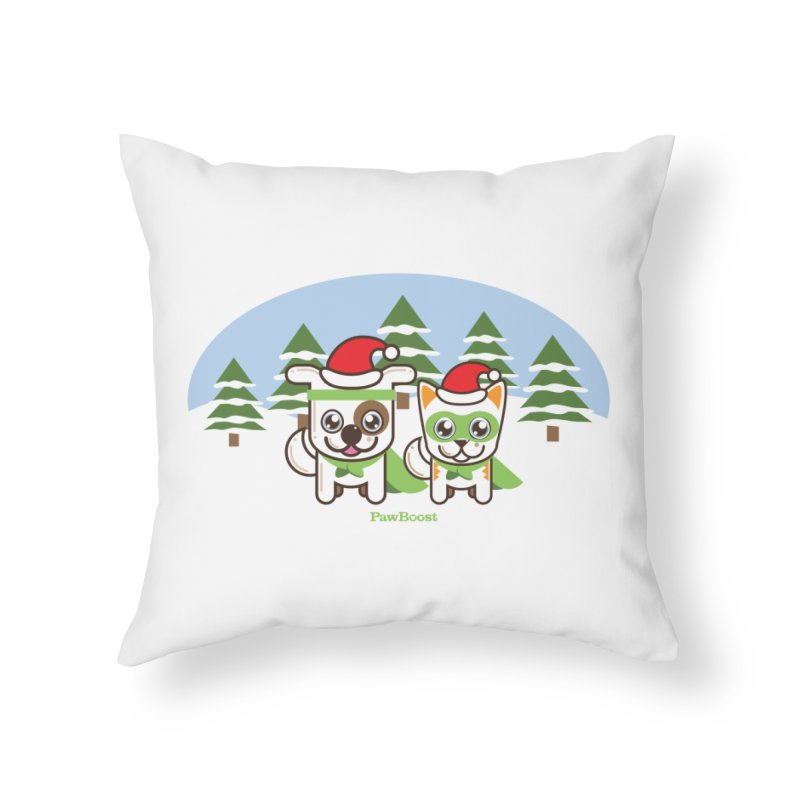 Toby & Moby (winter wonderland) Home Throw Pillow by PawBoost's Shop