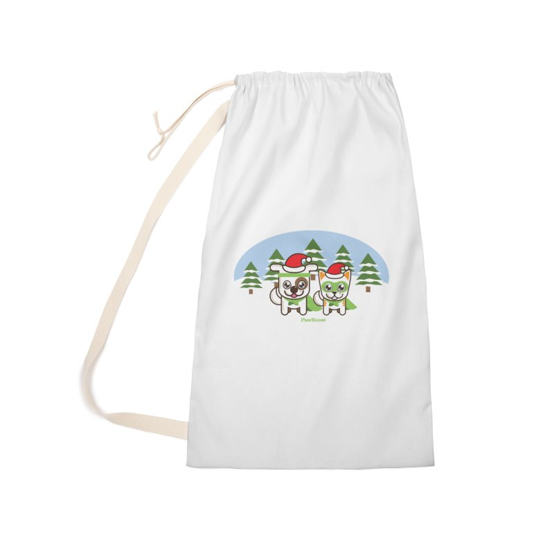 Toby & Moby (winter wonderland) Accessories Laundry Bag Bag by PawBoost's Shop