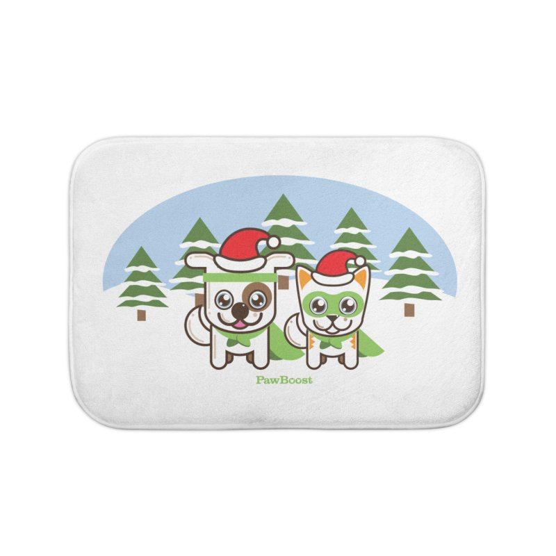 Toby & Moby (winter wonderland) Home Bath Mat by PawBoost's Shop