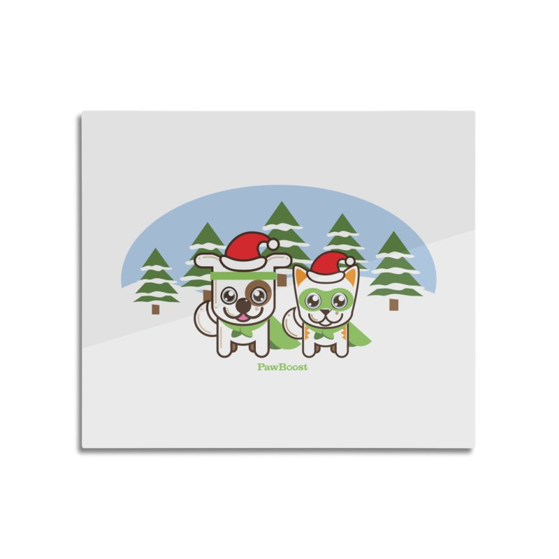 Toby & Moby (winter wonderland) Home Mounted Aluminum Print by PawBoost's Shop