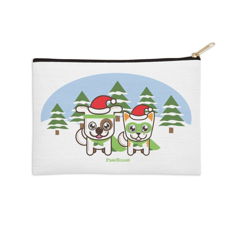 Toby & Moby (winter wonderland) Accessories Zip Pouch by PawBoost's Shop