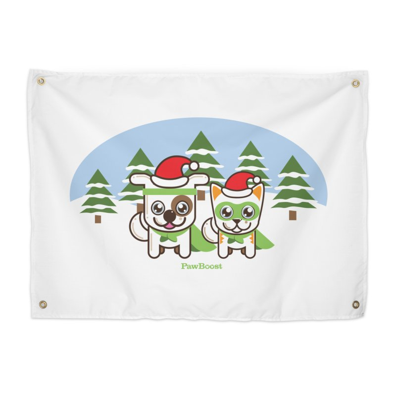 Toby & Moby (winter wonderland) Home Tapestry by PawBoost's Shop