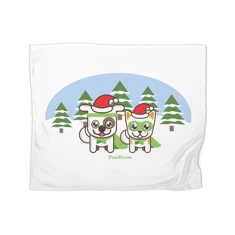 Toby & Moby (winter wonderland) Home Fleece Blanket Blanket by PawBoost's Shop