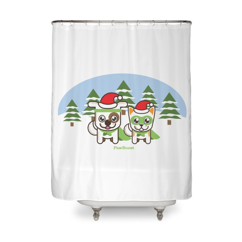 Toby & Moby (winter wonderland) Home Shower Curtain by PawBoost's Shop