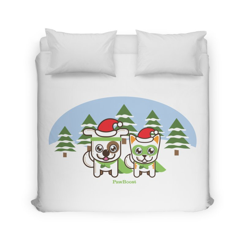 Toby & Moby (winter wonderland) Home Duvet by PawBoost's Shop