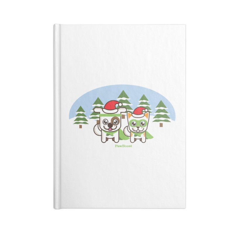 Toby & Moby (winter wonderland) Accessories Lined Journal Notebook by PawBoost's Shop