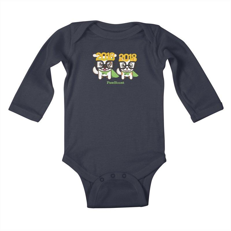 Hello 2018! Kids Baby Longsleeve Bodysuit by PawBoost's Shop