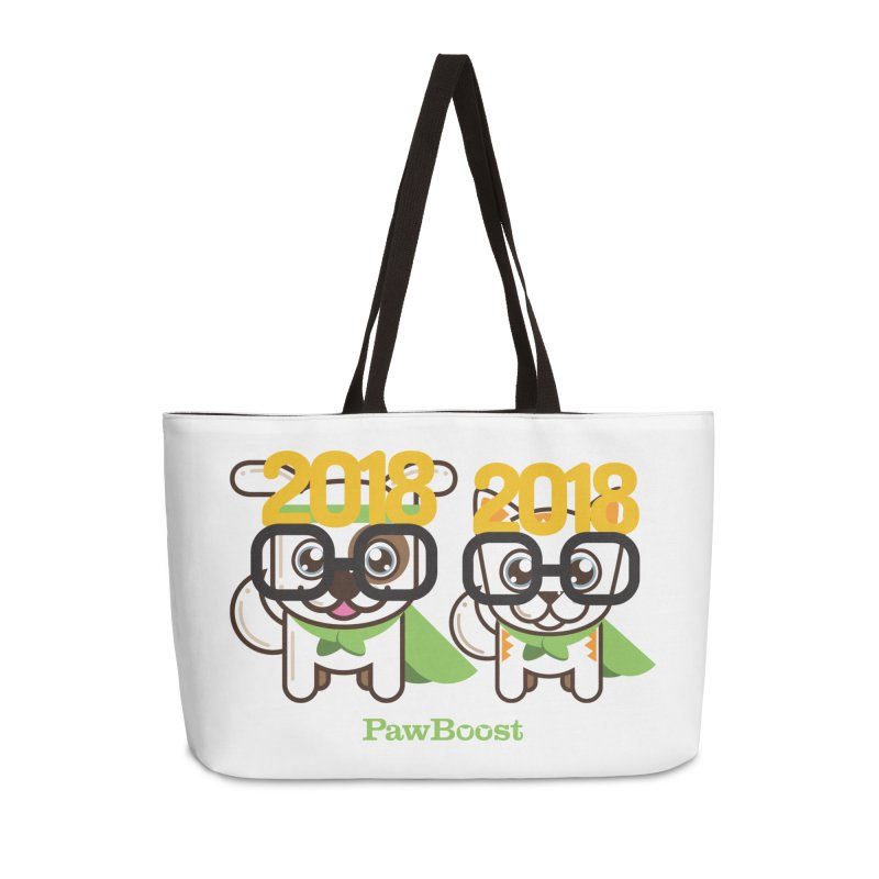 Hello 2018! Accessories Weekender Bag Bag by PawBoost's Shop