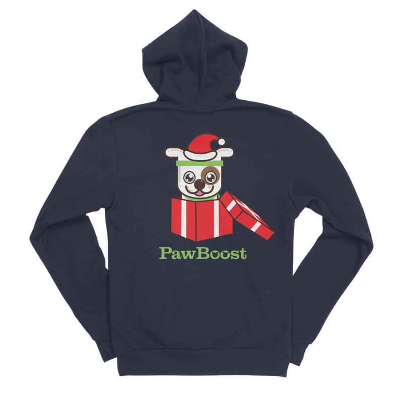 Happy Howlidays! (dog) Men's Sponge Fleece Zip-Up Hoody by PawBoost's Shop
