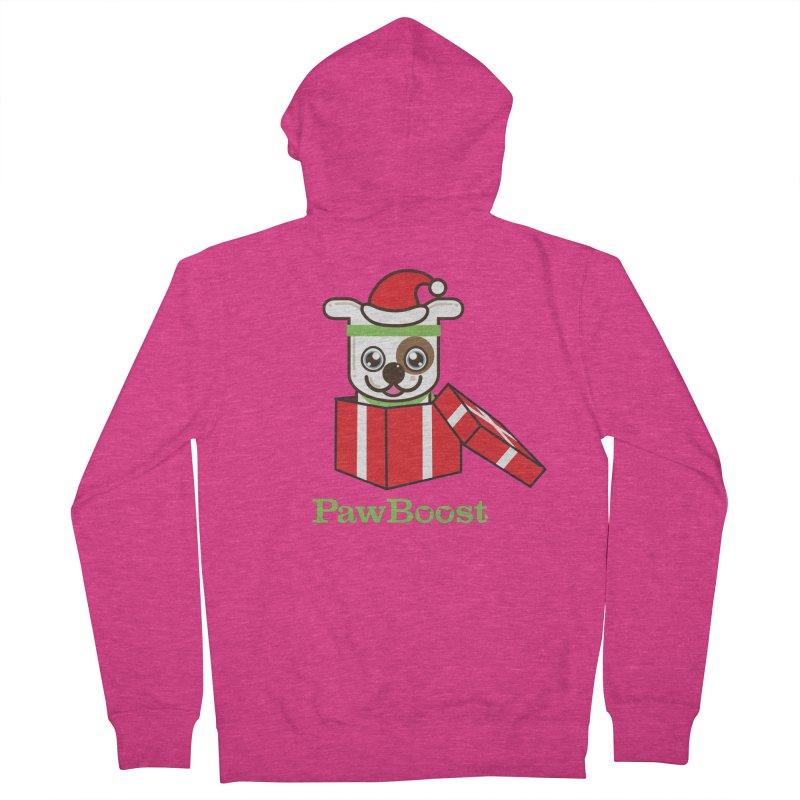Happy Howlidays! (dog) Women's French Terry Zip-Up Hoody by PawBoost's Shop