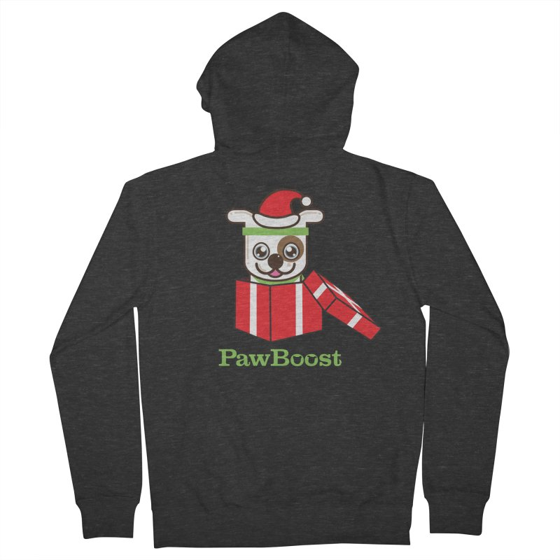 Happy Howlidays! (dog) Men's French Terry Zip-Up Hoody by PawBoost's Shop