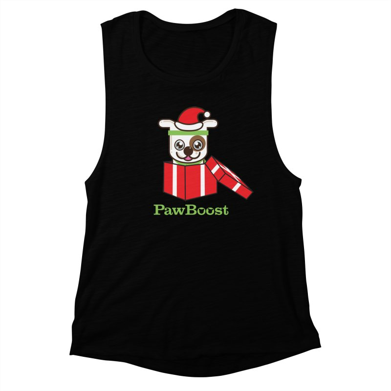Happy Howlidays! (dog) Women's Muscle Tank by PawBoost's Shop