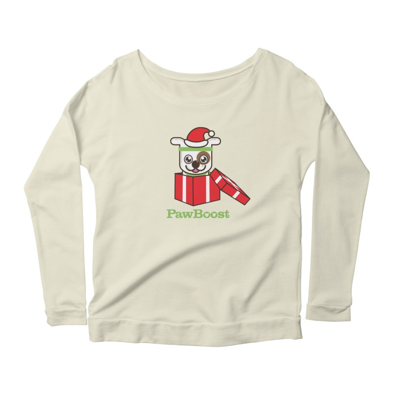 Happy Howlidays! (dog) Women's Scoop Neck Longsleeve T-Shirt by PawBoost's Shop