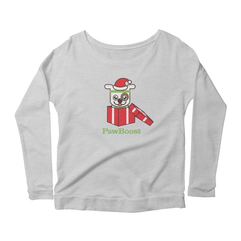 Happy Howlidays! (dog) Women's Scoop Neck Longsleeve T-Shirt by PawBoost's Shop