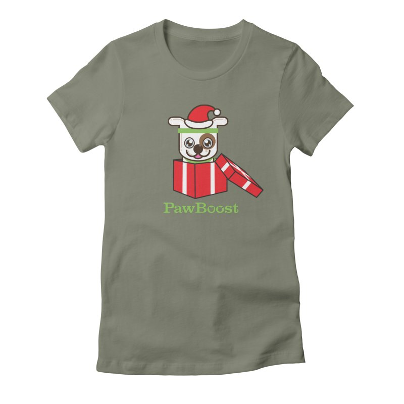 Happy Howlidays! (dog) Women's Fitted T-Shirt by PawBoost's Shop