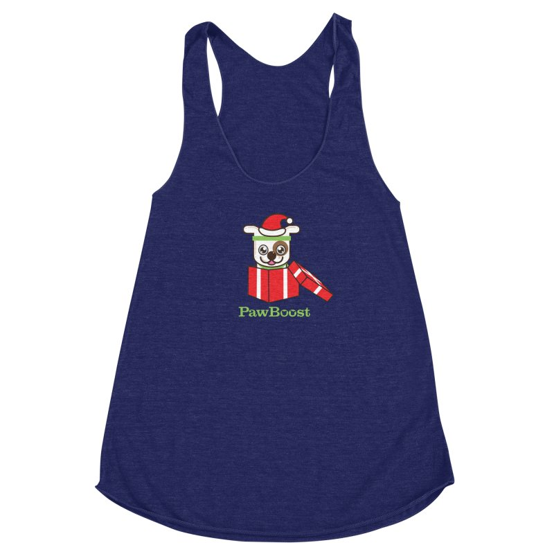 Happy Howlidays! (dog) Women's Racerback Triblend Tank by PawBoost's Shop
