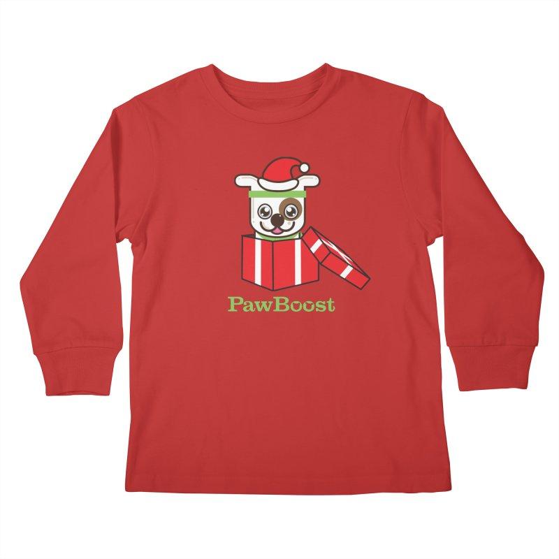 Happy Howlidays! (dog) Kids Longsleeve T-Shirt by PawBoost's Shop