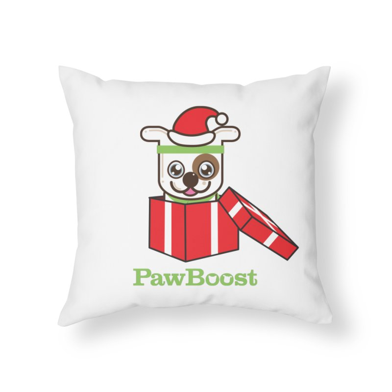 Happy Howlidays! (dog) Home Throw Pillow by PawBoost's Shop