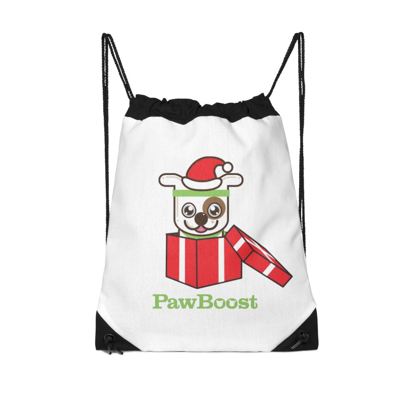 Happy Howlidays! (dog) Accessories Drawstring Bag Bag by PawBoost's Shop