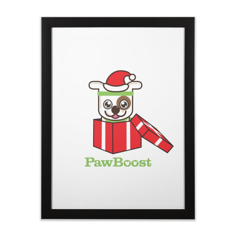 Happy Howlidays! (dog) Home Framed Fine Art Print by PawBoost's Shop
